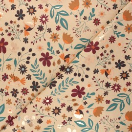 Printed jersey fabric - beige Autumnal nature x 10cm