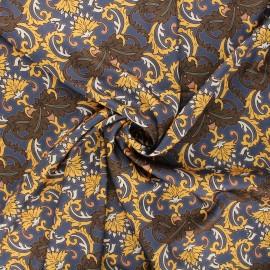 Print polyester satin fabric - grey Baroque x 10cm