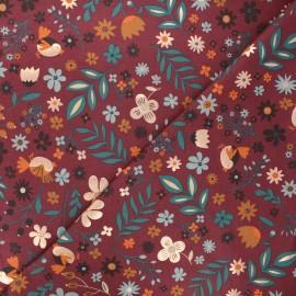 Printed jersey fabric - burgundy Autumnal nature x 10cm