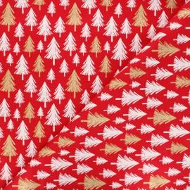 Tissu coton cretonne Christmas pines - rouge x 10cm