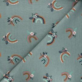 Printed jersey fabric - eucalyptus green Blooming rainbow x 10cm
