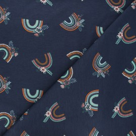 Printed jersey fabric - midnight blue Blooming rainbow x 10cm