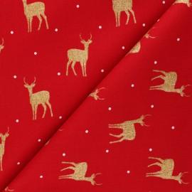 Cretonne cotton fabric - red Shiny deers x 10cm