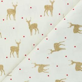 Cretonne cotton fabric - raw Shiny deers x 10cm