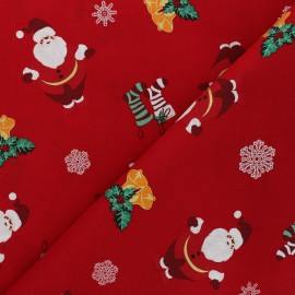 Tissu coton cretonne Feliz navidad - rouge x 10cm