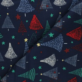 Cretonne cotton fabric - navy blue Sapins de Noël x 10cm