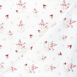 Printed jersey fabric - white Snowman family x 10cm