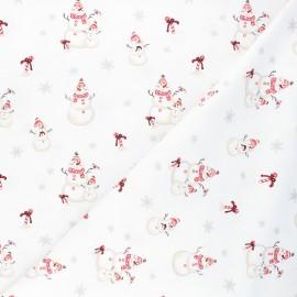 Tissu jersey Snowman family - blanc x 10cm