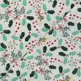 Tissu coton cretonne Houx - écru x 10cm