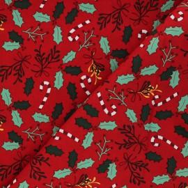 Tissu coton cretonne Houx - rouge x 10cm