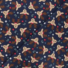 Tissu jersey Christmas deer - bleu nuit x 10cm