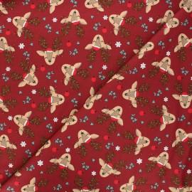 Tissu jersey Christmas deer - bordeaux x 10cm
