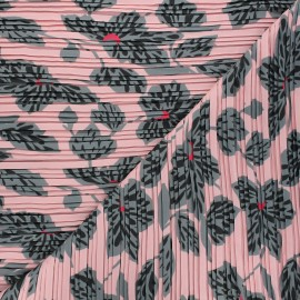Pleated polyester fabric - pink Chantal x 10cm
