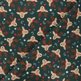 Tissu jersey Christmas deer - vert foncé x 10cm