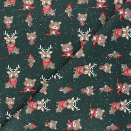 Printed jersey fabric - dark green Winter in the wood x 10cm