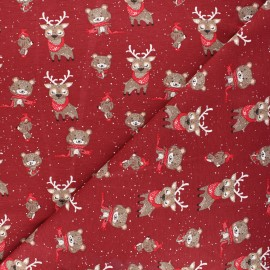 Printed jersey fabric - dark red Winter in the wood x 10cm