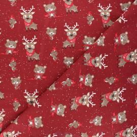 Tissu jersey Winter in the wood - rouge foncé x 10cm