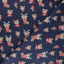 Printed jersey fabric - midnight blue Winter in the wood x 10cm