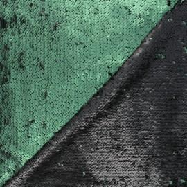 Mat reversible sequin fabric - green Agnetha x 10cm