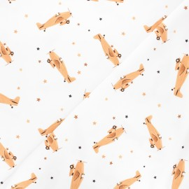 Printed jersey fabric - white/camel Vintage airplane x 10cm