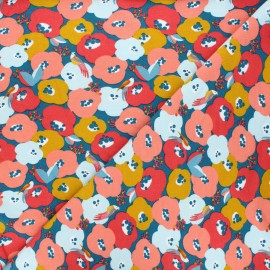 Poppy Sweatshirt cotton fabric - blue Flowers and lovely bird x 10cm