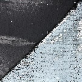Reversible sequin fabric - black/silver Anni x 10cm