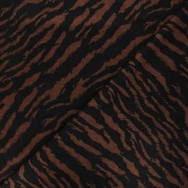Tissu maille polyviscose Zèbre - marron x 10cm