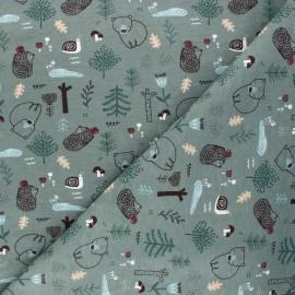 Printed jersey fabric - eucalyptus green Dans la forêt x 10cm