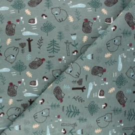 Tissu jersey Dans la forêt - vert eucalyptus x 10cm