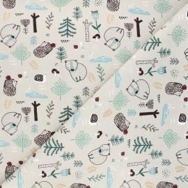 Printed jersey fabric - greige Dans la forêt x 10cm