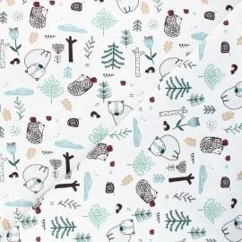 Printed jersey fabric - white Dans la forêt x 10cm