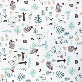 Tissu jersey Dans la forêt - blanc x 10cm