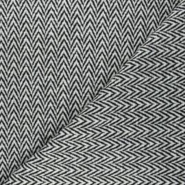 Tissu lainage stretch Chevron - noir x 10cm