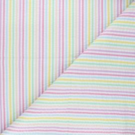 Tissu seersucker Pastel - multicolore x 10cm