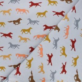 Tissu jersey Poppy Horses - gris x 10cm