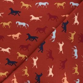 Tissu jersey Poppy Horses - blanc x 10cm
