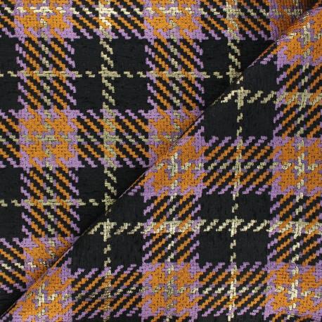 Tissu jacquard lurex Tartan - noir x 10cm
