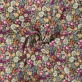 Flowery Viscose fabric - black Brittania x 10cm