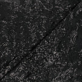 Sequin fabric - black Glittyx 10cm