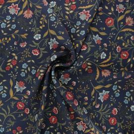 Flowery Viscose fabric - dark blue Lucia x 10cm
