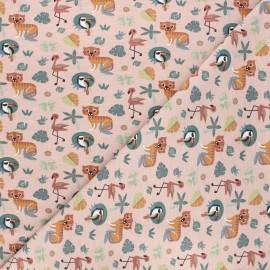 Tissu jersey Dans la jungle - rose clair x 10cm