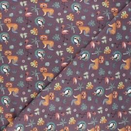Tissu jersey Dans la jungle - violet x 10cm