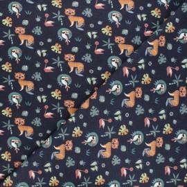 Tissu jersey Dans la jungle - bleu nuit x 10cm