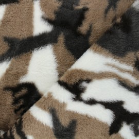Faux fur fabric - brown Okta x 10cm