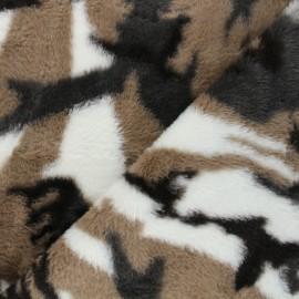 Tissu fourrure Okta - marron x 10cm