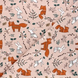 Printed jersey fabric - light pink Forest dwellers x 10cm