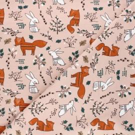 Tissu jersey Forest dwellers - rose clair x 10cm