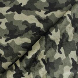 Tissu doudou Camo - vert x 10 cm