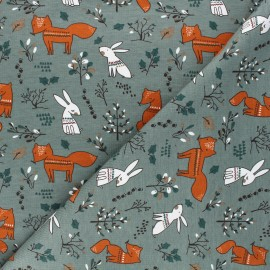Printed jersey fabric - eucalyptus green Forest dwellers x 10cm
