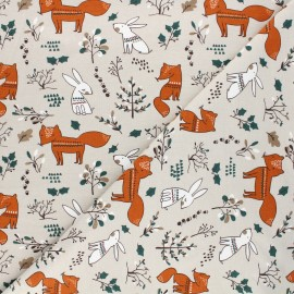 Printed jersey fabric - greige Forest dwellers x 10cm